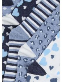 Girls Grey 5PK Design Socks
