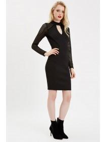 Jane Norman Black Fishnet Choker Bodycon Dress
