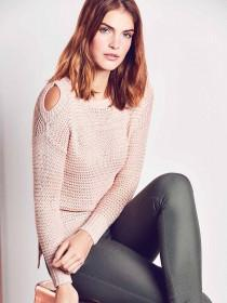 Womens Pink Cold Shoulder Jumper
