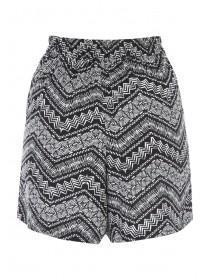 Womens Black Zig Zag Viscose Shorts