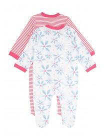 Baby Girls Blue 2PK Large Floral Sleepsuit