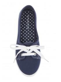 Womens Dark Blue Casual Lace Up Shoes
