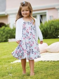 Younger Girls Light Blue Bird Floaty Dress