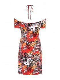 Womens Red Halter Neck Cold Shoulder Dress