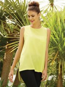 Womens Lime Woven Longline Vest