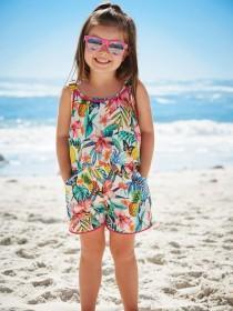 Younger Girls White Tropical Woven Playsuit