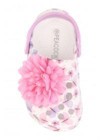 Younger Girls White Floral Print Clog Sandals
