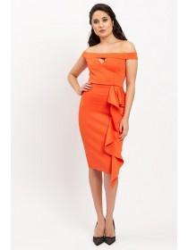 Jane Norman Coral Ruffle Dress