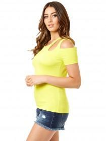 Jane Norman Yellow Cold Shoulder Cut Out Top