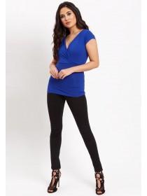 Jane Norman Blue Short Sleeve Wrap Top