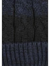 Mens Black Cable Knit Beanie Hat