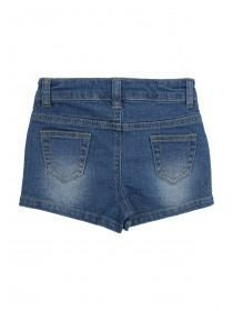 Younger Girls Blue Floral Embroidered Shorts
