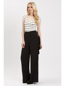 Jane Norman Black Wide Leg Eyelet Trousers