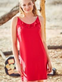 Womens Hot Pink Ruffle Cami Dress