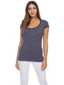 Jane Norman Navy Stripe Frill Sleeve Top