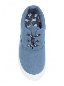 Older Boys Blue Lace-Up Canvas Trainers