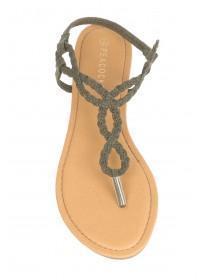 Womens Dark Green Plaited Slingback Sandals