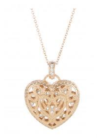 Womens Gold Filigree Heart Pendant Necklace