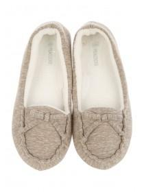 Womens Brown Moccasin Slipper