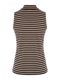 Womens Sleeveless Funnel Neck Striped Top