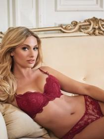 Womens Red Daisy Lace Balcony Bra