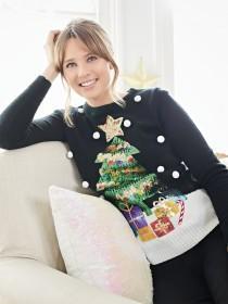 Womens Black Christmas Tree Jumper