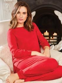 Womens Red Long Sleeve Lounge Top
