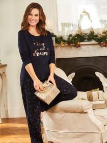 Womens Navy Pyjama Gift Set