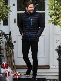 Mens Black Hooded Lightweight Jacket