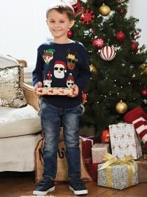 Younger Boys Christmas Faces Jumper