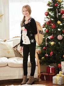 Older Girls Black Snowman Jumper