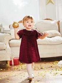 Younger Girls Velvet Frill Dress