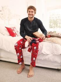 Mens Red Fleece Santa Pyjama Trousers