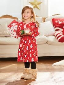 Younger Girls Red Festive Dress
