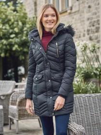 Womens Navy Longline Padded Coat