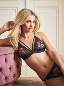 Womens Black Embroidered Bralette