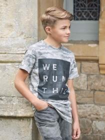 Older Boys Grey Slogan T-Shirt