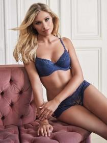 Womens Mid Blue Push Up Bra