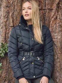 Womens Black Padded Belted Jacket