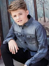 Older Boys Grey Denim Shirt