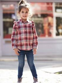 Younger Girls Frill Check Shirt