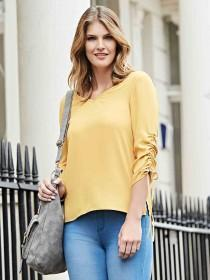 Womens Yellow Ruched Sleeve Top