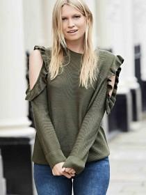 Womens Khaki Frill Sleeve Cold Shoulder Jumper