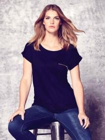 Womens Black Zip Front T-Shirt