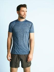 Mens Blue Short Sleeve Sports Top