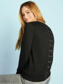 Womens Black Lace Up Sweater