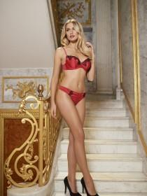 Womens Red Satin Thong