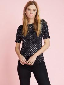 Womens Spot Ruched Sleeve Top