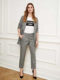 Womens Grey Check Trousers