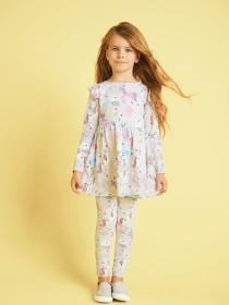 Younger Girls Grey Unicorn Leggings